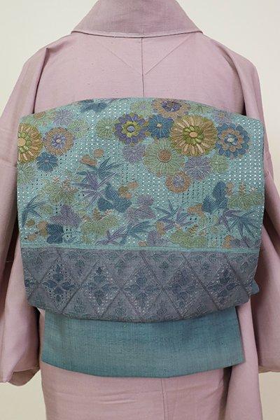 あおき【L-5204】紬地 スワトウ刺繍 洒落袋帯 青碧色 花の図