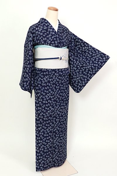 銀座【D-2615】佐藤昭人 阿波藍 小紋 濃藍色 束ね熨斗文(反端付き)