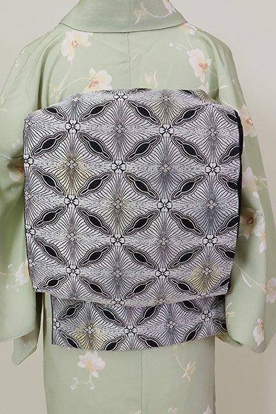 銀座【L-5222】西陣製 袋帯 黒色 松菱文(証紙付)