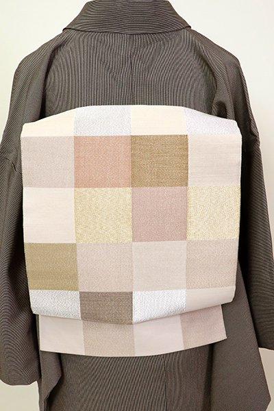 銀座【L-5226】西陣 祥園製 綴れ織 袋帯 亜麻色 市松文(落款入)