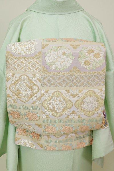 銀座【L-5230】袋帯 練色 変わり段に花の丸文