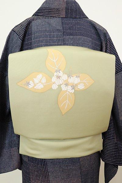 あおき【K-7026】塩瀬 染名古屋帯 淡い根岸色 花の図