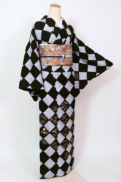 銀座【B-2706】(L) 絞り染め 付下げ 黒色 市松に松竹梅