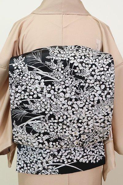 銀座【L-5235】袋帯 黒色 刺繍 秋草の図