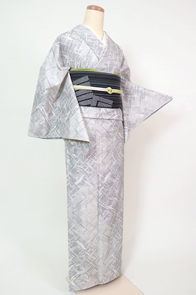 銀座【A-3198】(S・広め)白大島紬 白練色 抽象文