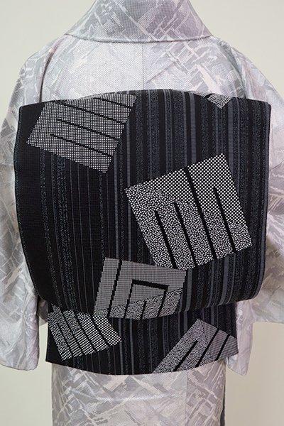 銀座【L-5238】洒落袋帯 黒色 竪縞に源氏香の図