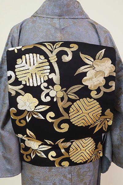 銀座【L-5239】西陣 白寿苑製  袋帯 黒色 宝華唐草文