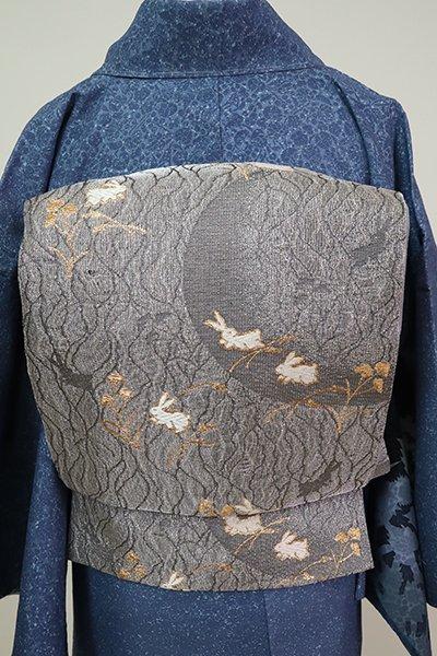 あおき【L-5240】袋帯 銀色 秋草に兎の図