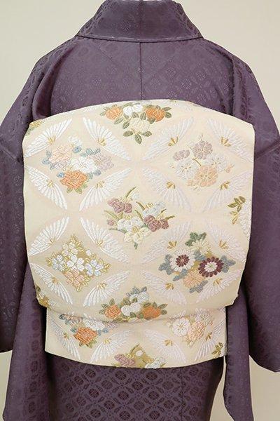 銀座【L-5241】西陣製 袋帯 鳥の子色 七宝に四季花(証紙付)