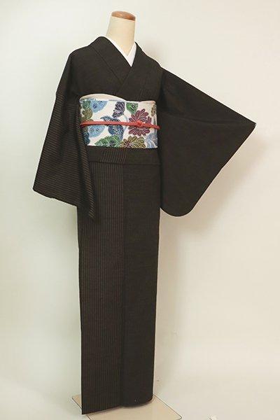 あおき【A-3201】(S・細め)塩沢紬 憲法色 竪縞(反端付)