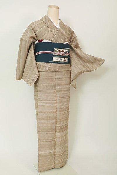 銀座【A-3202】(S)ムガシルク 紬 枯色 ナチュラルな横段(ますいわ屋扱い)