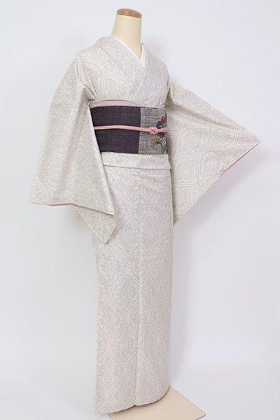 あおき【A-3203】(L)白大島紬 生成り色 装飾菱文