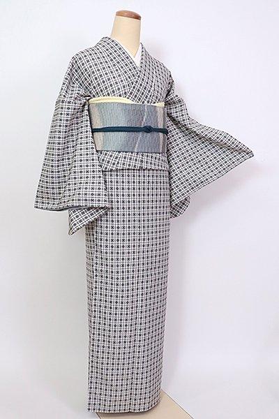 銀座【A-3204】浮き織り 着物 白色×黒色 幾何文(反端付)