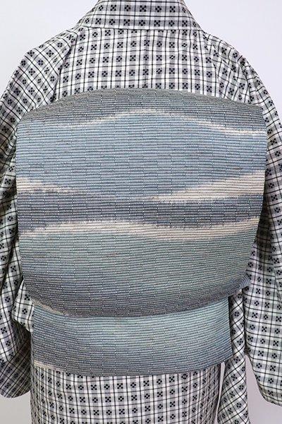 銀座【K-7041】ぜんまい紬地 織名古屋帯 藍色系 波のような横段
