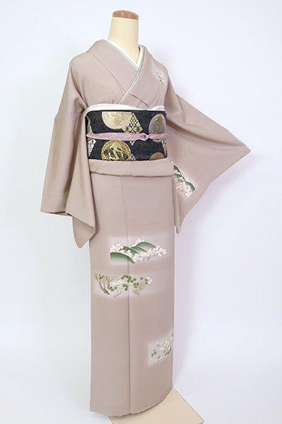 銀座【B-2714】染一ッ紋 訪問着 胡桃染色 四季花の図