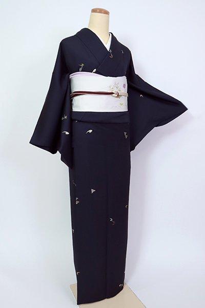 銀座【D-2622】(S・細め)刺繍 小紋 藍鉄色 抽象文