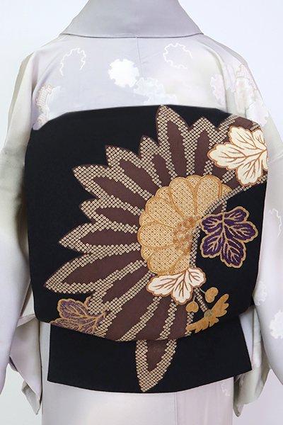銀座【L-5249】洒落袋帯 黒色 菊の図(N)