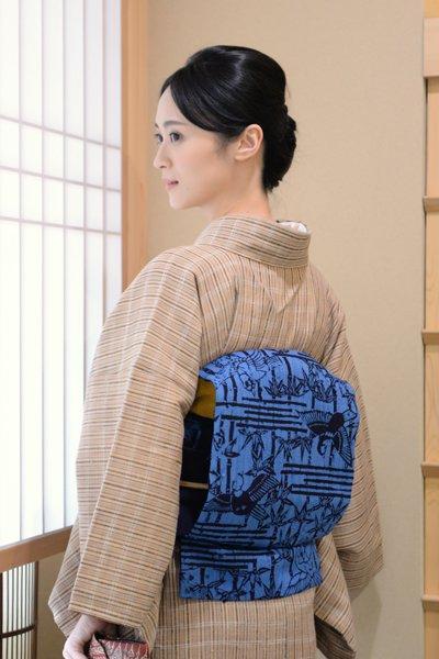銀座【帯3551】浦野理一作 紬地染名古屋帯 藍色 竹に雀の図
