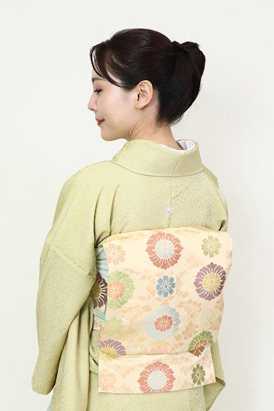 銀座【FR082-K-7057】西陣 川島織物製 織名古屋帯 練色 有職文様