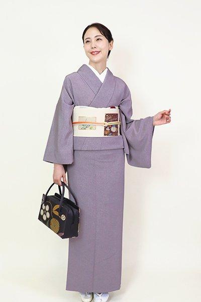 銀座【FR082-C-1963】(広め)江戸小紋 紫鼠色  鮫(反端付)