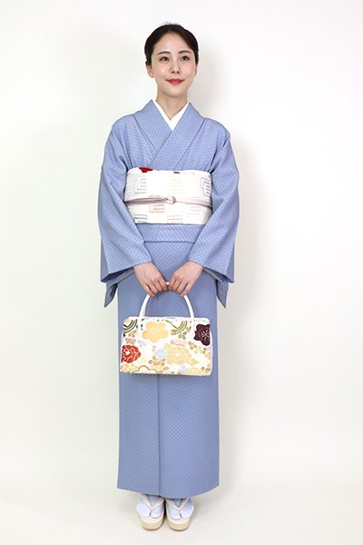 銀座【FR082-C-1960】繍一ッ紋 江戸小紋 青藤色 市松文(松屋扱い)