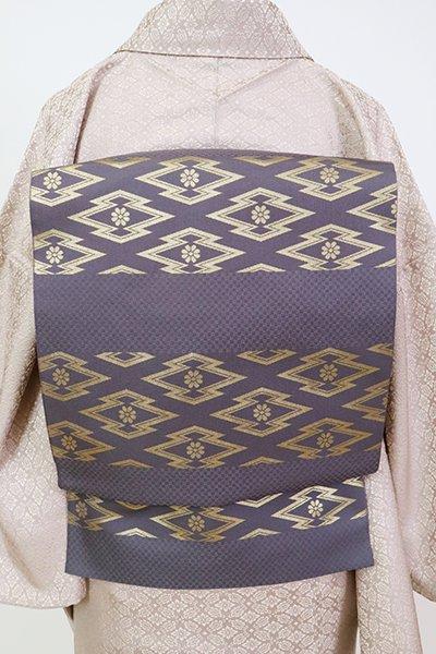 銀座【L-5254】西陣 川島織物製 本袋帯 鳩羽色 本金 横段に松皮菱(落款入)