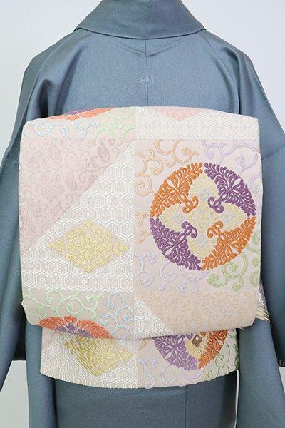 銀座【L-5255】西陣製 袋帯 灰桜色 有職丸文(証紙・栞付)