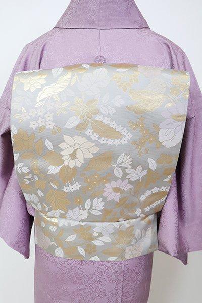銀座【L-5257】西陣 陰山織物製 箔屋清兵衛 袋帯 白鼠色 花の図(証紙・反端付・落款入)