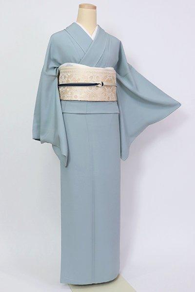 銀座【C-1948】(L・広め)染一ッ紋 色無地 藍鼠色(反端付・落款入)