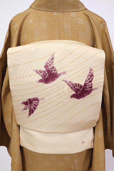 銀座【K-7050】塩瀬 絞り染め 名古屋帯 鳥の子色 鳥の図(落款入)