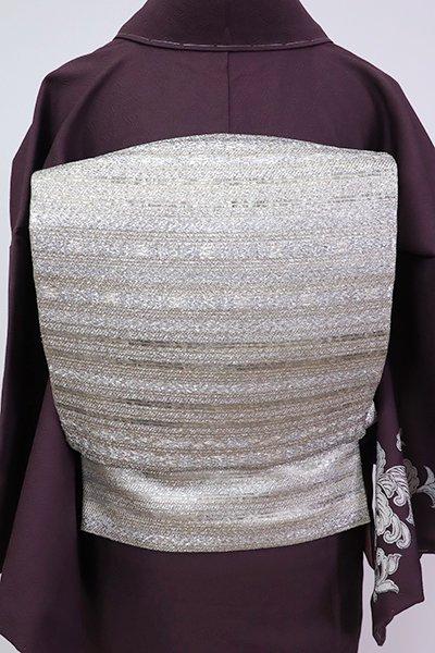 銀座【L-5260】西陣 陰山織物製 箔屋清兵衛 袋帯 銀色 横段(落款入)