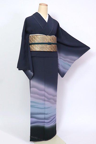 銀座【B-2722】(S)付下げ 青褐色 裾暈かし(落款入)
