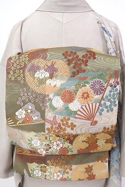 銀座【L-5261】袋帯 変わり市松に流水に扇面の図