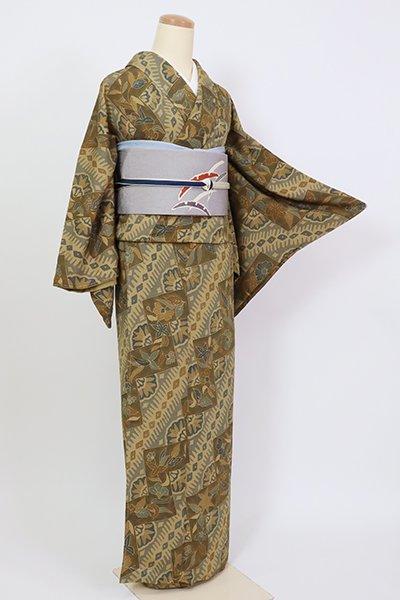 あおき【D-2629】小紋 黄橡色 更紗文(反端付)