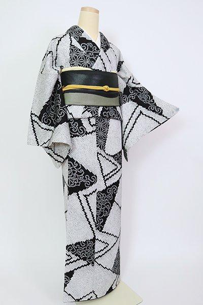 【D-2631】総絞り 小紋 白色×黒色 幾何文