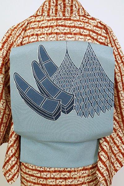 銀座【K-7065】栗山工房製 縮緬地 染名古屋帯 藍鼠色 網干の図(落款入)