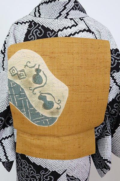 銀座【K-7066】紬地 染名古屋帯 狐色 瓢箪の図