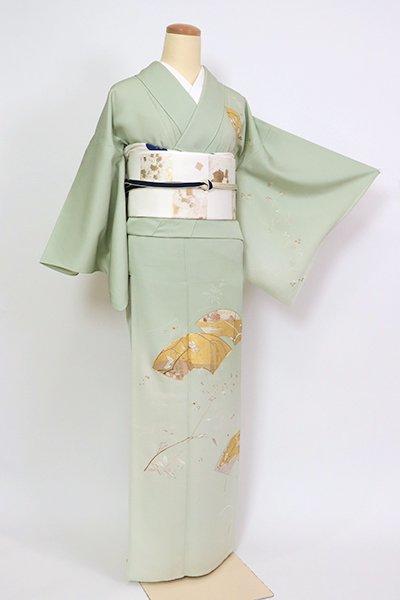 あおき【B-2726】(S・細め)単衣 染一ッ紋 付下げ 柳鼠色 扇面に四季花の図