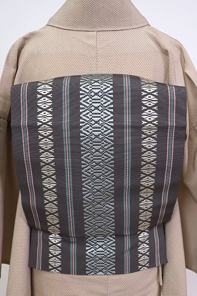 銀座【K-7067】博多織 八寸名古屋帯 藤煤竹色 献上柄