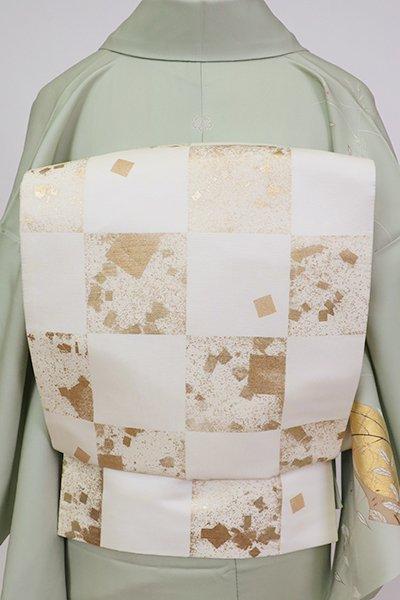 銀座【L-5281】袋帯 白色 市松に切箔文