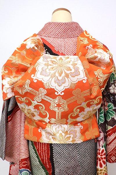 銀座【L-5282】西陣 川島織物製 本袋帯 赤橙色 亀甲に華文(落款入)