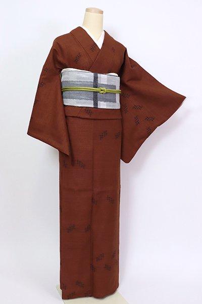 銀座【A-3208】本場久米島紬 錆色 絣文(証紙付)