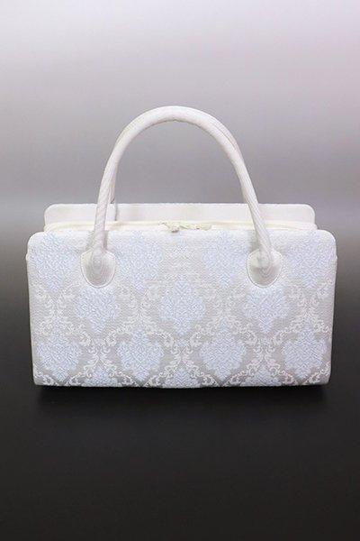 銀座【G-1749】京都衿秀 利休バッグ 白色 欧風装飾文