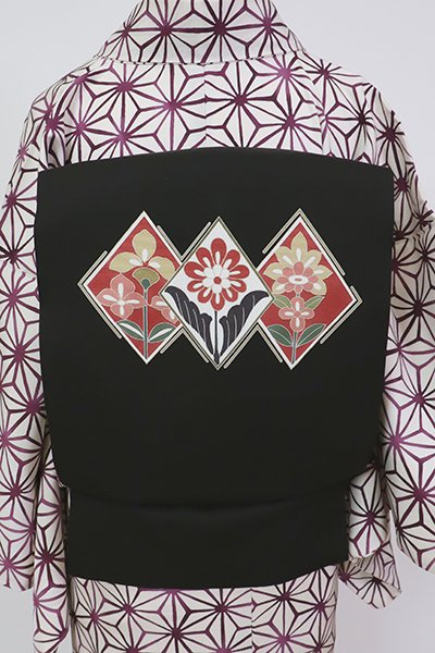 銀座【K-7069】塩瀬 染名古屋帯 黒色 菱に花の図