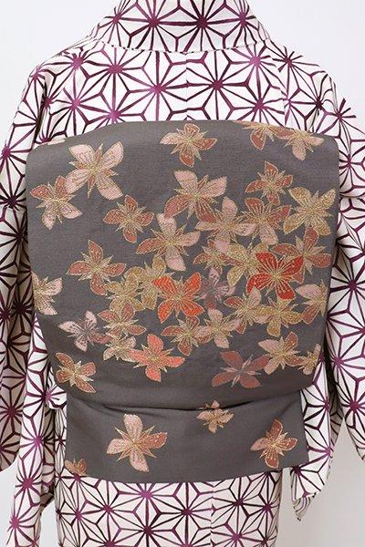銀座【L-5290】洛風林製 袋帯 黒橡色 四弁花文(落款入)