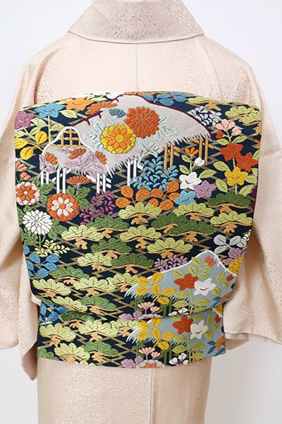 銀座【L-5292】袋帯 濃藍色 松川菱に松や秋草