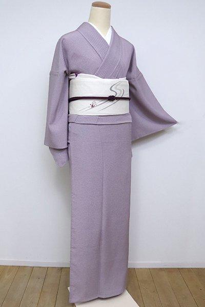 銀座【C-1884-3】(細め)単衣 江戸小紋 葡萄鼠色 行儀(反端付)(N)