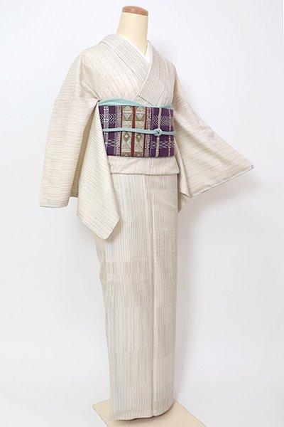 銀座【A-3209】紬 生成り色 変わり段