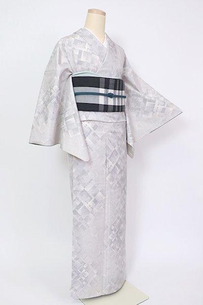 銀座【A-3210】白大島紬 白練色 幾何文