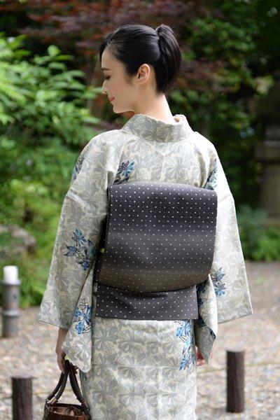 銀座【帯3573】本場牛首紬地 洒落袋帯